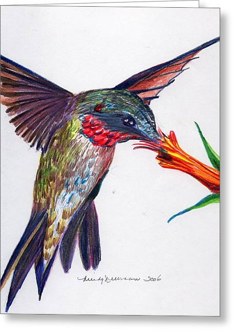Feeding Mixed Media Greeting Cards - Sweet Nectar Greeting Card by Mindy Newman