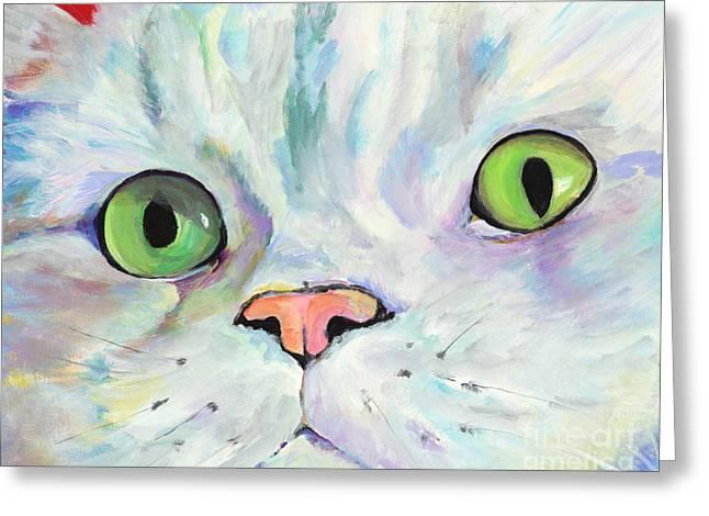 Pat Saunders-white Paintings Greeting Cards - Sweet Puss Greeting Card by Pat Saunders-White
