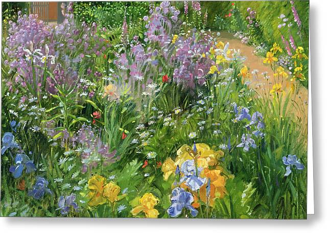 Garden Flower Greeting Cards - Sweet Rocket - Foxgloves and Irises Greeting Card by Timothy Easton