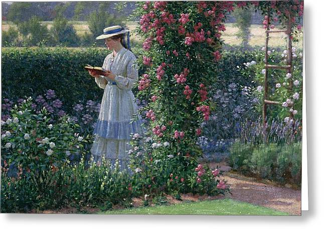 Flower Bed Greeting Cards - Sweet Solitude Greeting Card by Edmund Blair Leighton