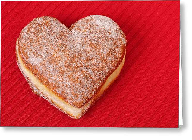 Specialty Greeting Cards - Sweet Valentine Love - heart-shaped jam-filled donut Greeting Card by Matthias Hauser