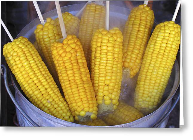 Food Stall Greeting Cards - Sweetcorn Cobs Being Cooked Greeting Card by Bjorn Svensson