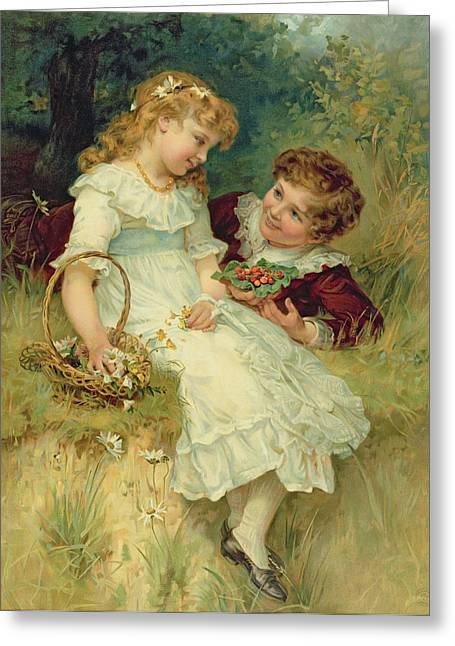 Annual Greeting Cards - Sweethearts Greeting Card by Frederick Morgan