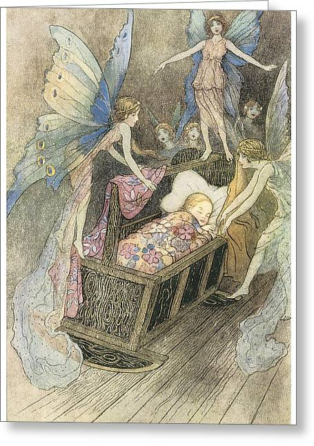 Warwick Paintings Greeting Cards - Sweetly singing round about they bed Greeting Card by Warwick Goble