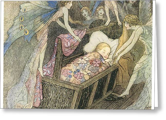 Sweetly singing round about they bed Greeting Card by Warwick Goble