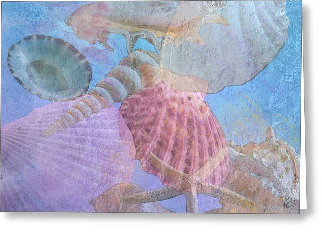 Seashell Art Greeting Cards - Swept Out With the Tide Greeting Card by Betty LaRue