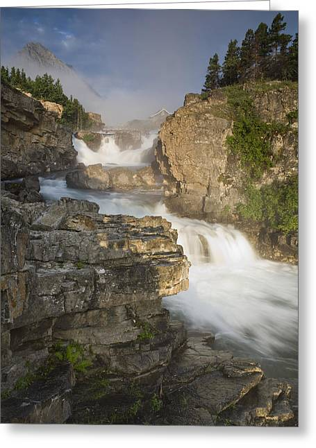 Swiftcurrent Falls Greeting Cards - Swiftcurrent Falls And Mount Grinnell Greeting Card by Sebastian Kennerknecht
