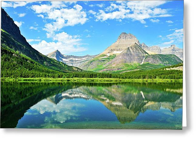 Glacier National Park Greeting Cards - Swiftcurrent Reflections Greeting Card by Greg Norrell