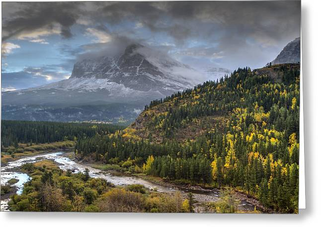 Many Glacier Greeting Cards - Swiftcurrent River Overlook Greeting Card by Mark Kiver