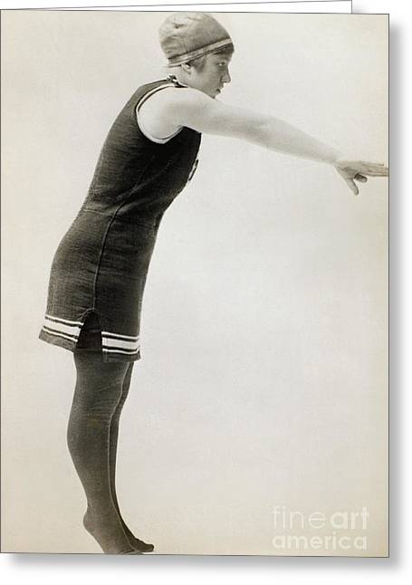 Fashion Photograph Greeting Cards - SWIMMER, c1900 Greeting Card by Granger