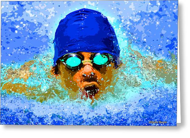 Swimmers Digital Art Greeting Cards - Swimmer Greeting Card by Stephen Younts