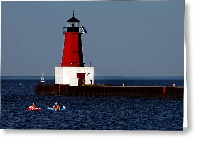 Swimmers Mixed Media Greeting Cards - Swimmers At The Lighthouse Greeting Card by Ms Judi