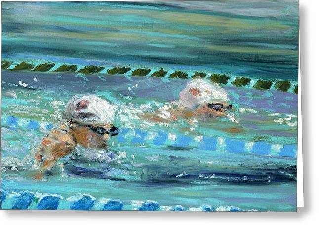 Olympics Pastels Greeting Cards - Swimmers Greeting Card by Paul Mitchell