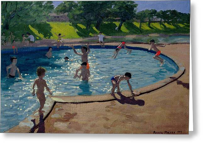 Midi Greeting Cards - Swimming Pool Greeting Card by Andrew Macara