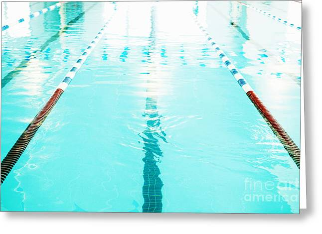 Empty Pool Greeting Cards - Swimming Pool Lane Greeting Card by Skip Nall