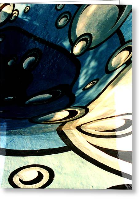 Outer Space Paintings Greeting Cards - Swimming Pool Mural detail 2 Greeting Card by Rachel Christine Nowicki