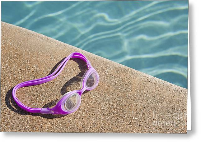 Swimming Pool Side Greeting Card by Bryan Mullennix