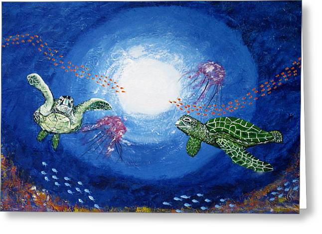 Susan Mclean Gray Greeting Cards - Swimming with Jellyfish Greeting Card by Susan McLean Gray