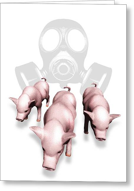 Porcine Animal Greeting Cards - Swine Flu Protection, Conceptual Image Greeting Card by Victor Habbick Visions