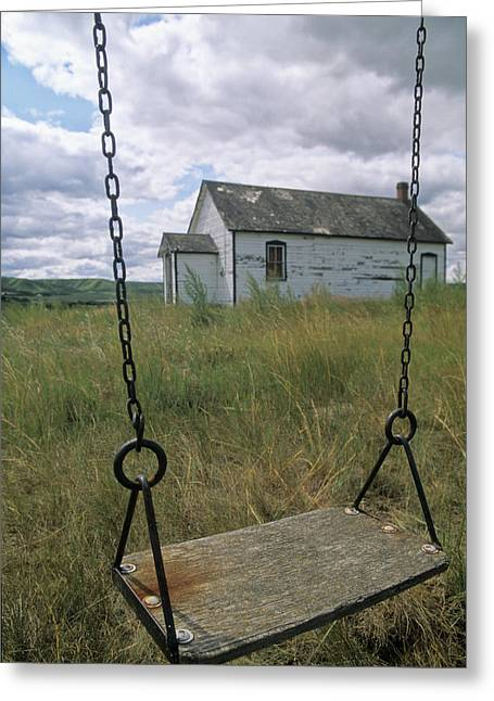 Old School House Greeting Cards - Swing At Old School House, Quappelle Greeting Card by Dave Reede