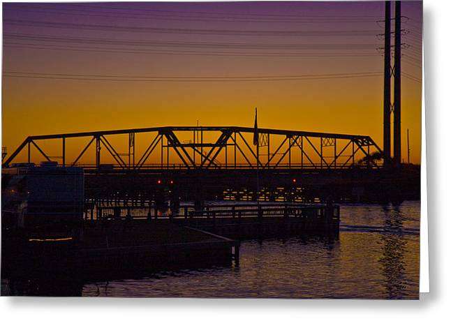 Topsail Island Greeting Cards - Swing Bridge Sunset Greeting Card by Betsy A  Cutler