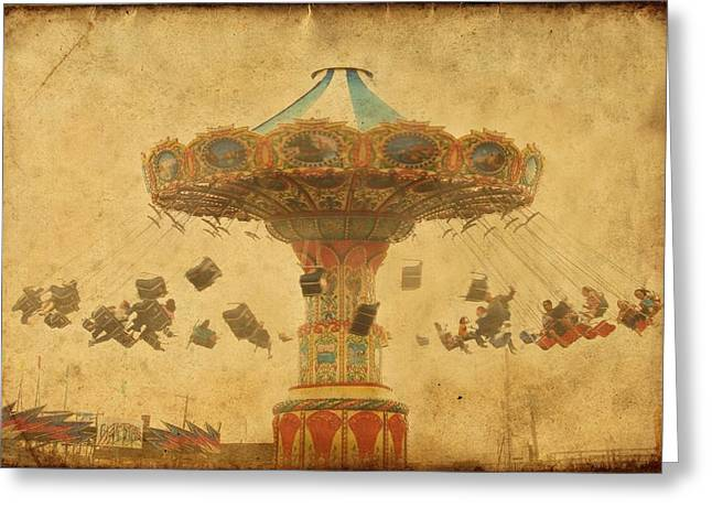 Point Pleasant Greeting Cards - Swing Chair Ride At Jenkinsons Boardwalk - Jersey Shore Greeting Card by Angie Tirado