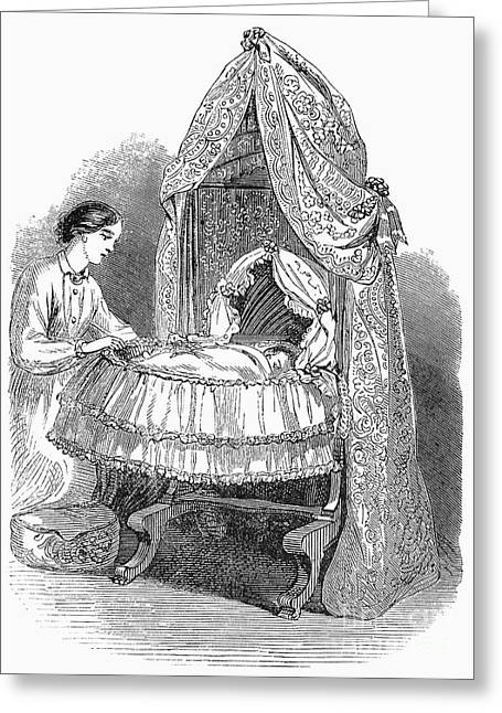 Baby Cradle Greeting Cards - Swing Cradle, 1862 Greeting Card by Granger