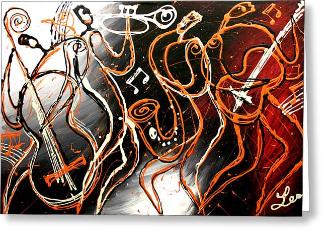 Popular Music Greeting Cards - Swing Greeting Card by Leon Zernitsky