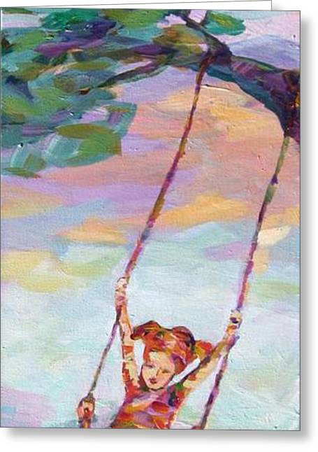 Child Swinging Paintings Greeting Cards - Swinging With Sunset Energy Greeting Card by Naomi Gerrard