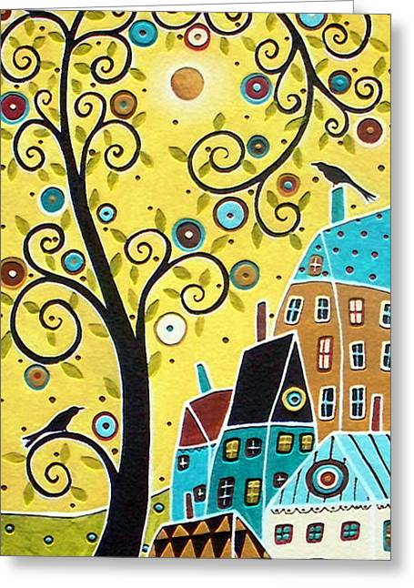 Folk Art Landscapes Greeting Cards - Swirl Tree Two BIrds And Houses Greeting Card by Karla Gerard