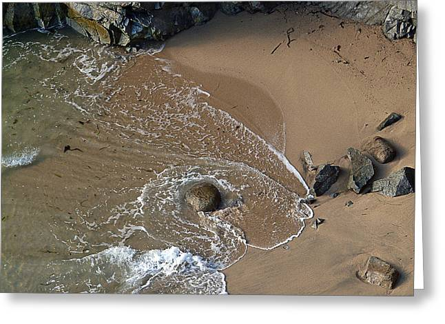 Big Sur Beach Greeting Cards - Swirling Surf And Rocks Greeting Card by Charlene Mitchell