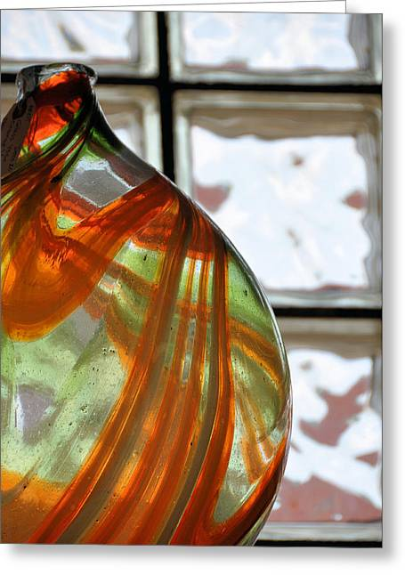 Glass Vase Greeting Cards - Swirls And Squares Greeting Card by Jan Amiss Photography