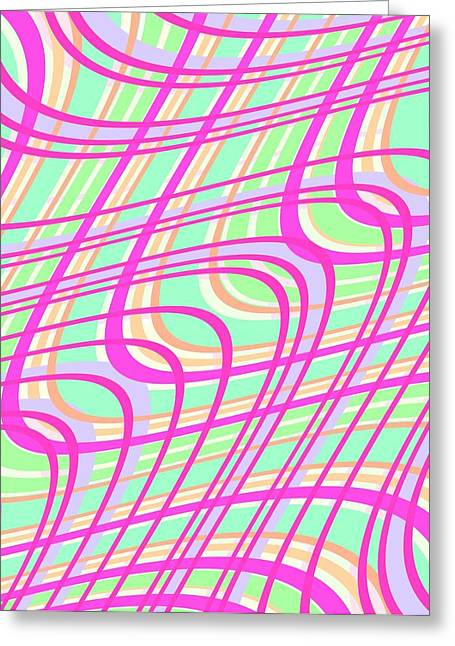 Bold Style Greeting Cards - Swirly Check Greeting Card by Louisa Knight