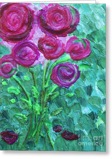 Fine Reliefs Greeting Cards - Swirly Roses Greeting Card by Ruth Collis