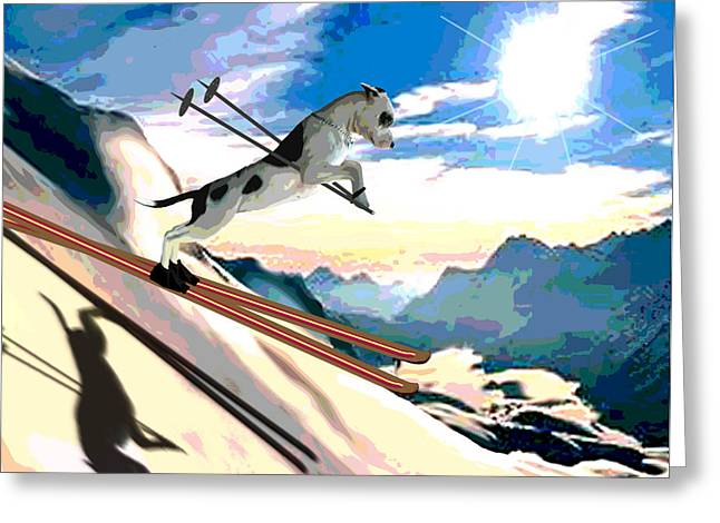 Skiing Art Posters Greeting Cards - Swiss Alps Greeting Card by Jann Paxton