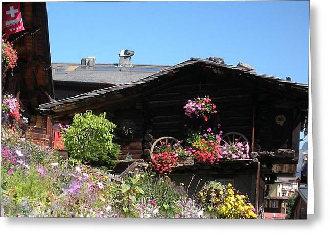 Swiss Chalet Interlaken Greeting Card by Marilyn Dunlap