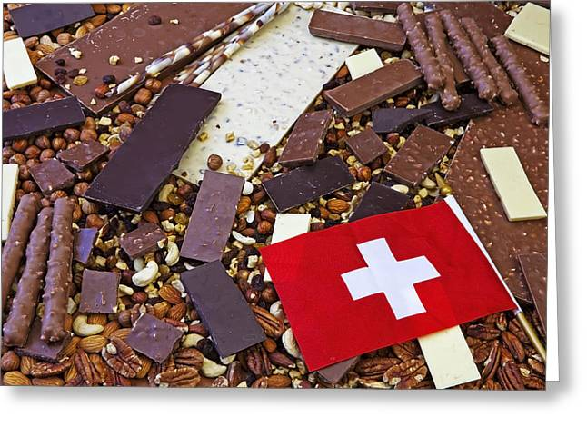 Swiss Flag Greeting Cards - Swiss Chocolate Greeting Card by Joana Kruse