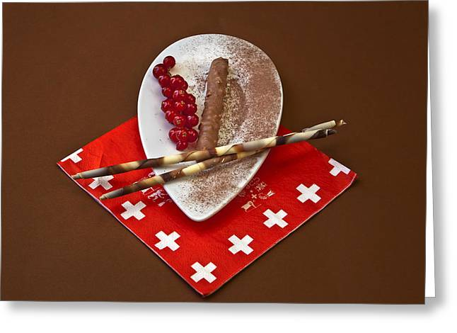 Swiss Cross Greeting Cards - Swiss chocolate praline Greeting Card by Joana Kruse