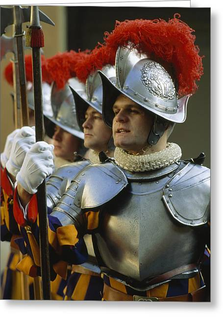 Historical Clothing Greeting Cards - Swiss Guards, Standing At Attention Greeting Card by James L. Stanfield