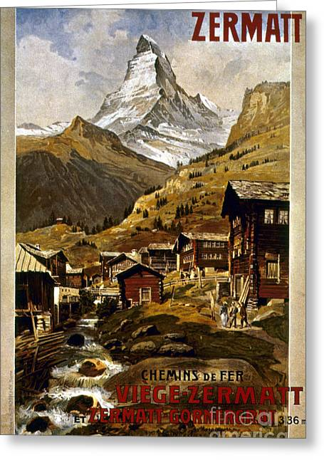 1898 Greeting Cards - Swiss Travel Poster, 1898 Greeting Card by Granger