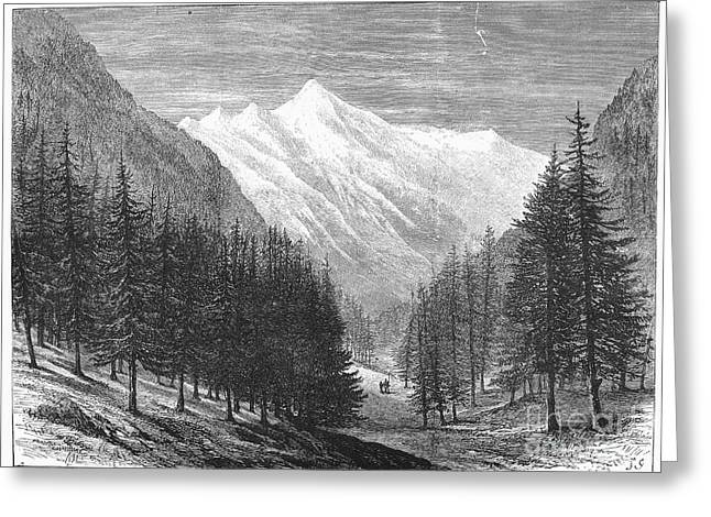 Pontresina Greeting Cards - Switzerland: Glacier, 1882 Greeting Card by Granger