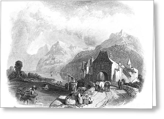 1833 Greeting Cards - Switzerland: Villeneuve Greeting Card by Granger
