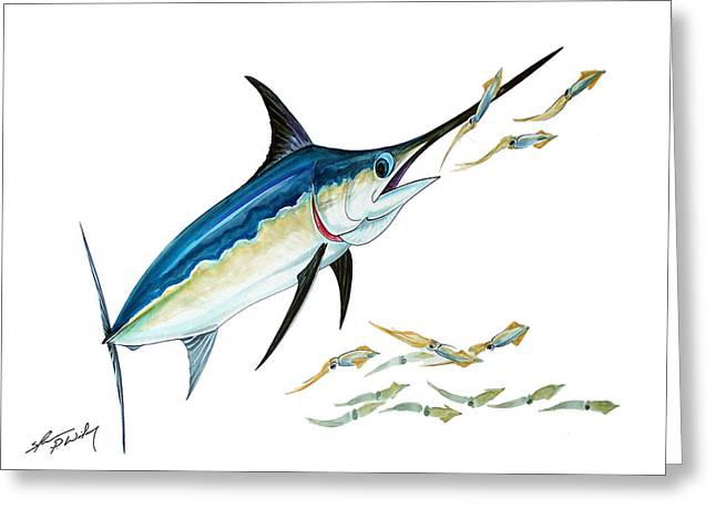 Swordfish Paintings Greeting Cards - Sword and Squid Greeting Card by Shannon Wiley