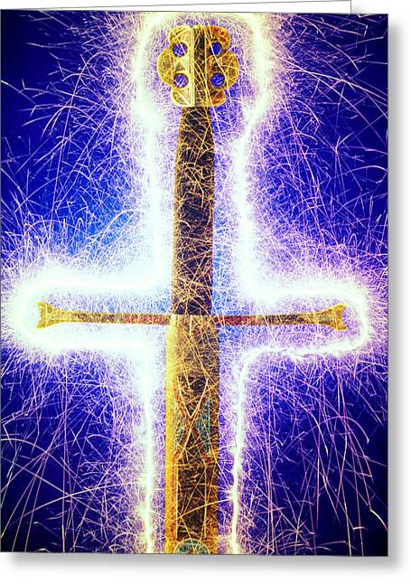Sword Greeting Cards - Sword with sparks Greeting Card by Garry Gay