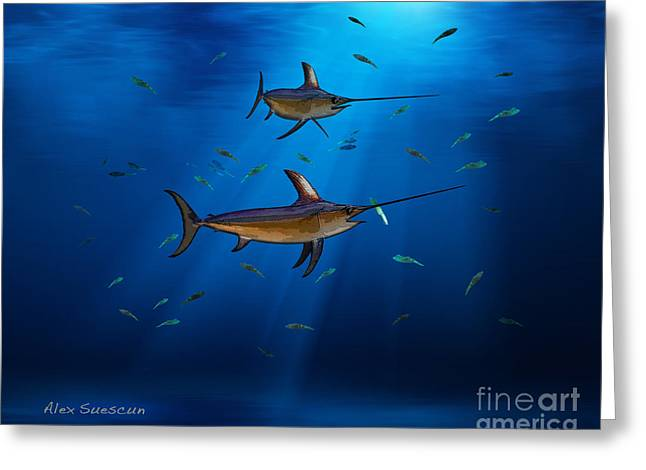 Wahoo Drawings Greeting Cards - Swordfish Moon Greeting Card by Alex Suescun