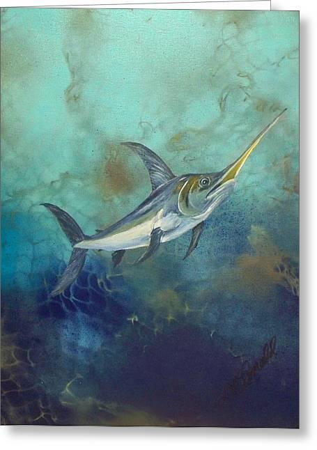Swordfish Paintings Greeting Cards - Swordfish underwater Greeting Card by Lynda McDonald