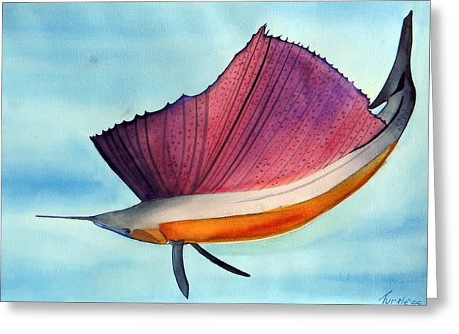 Swordfish Paintings Greeting Cards - Swordfish watercolor of National Georgraphic photo Greeting Card by The Nothing Machine Ink