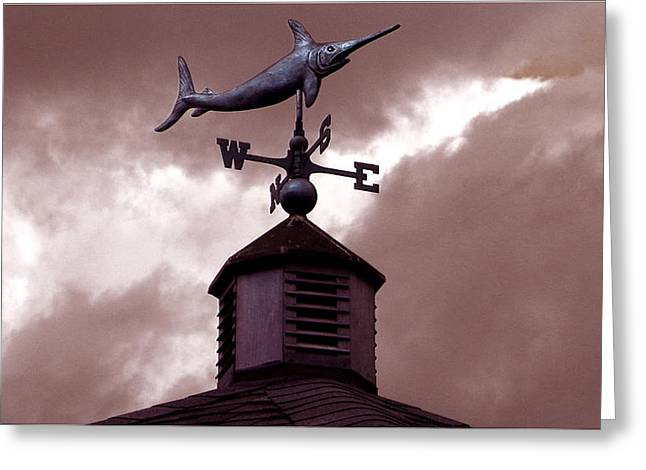 Weathervane Greeting Cards - Swordfish Weathervane Greeting Card by Tisha McGee