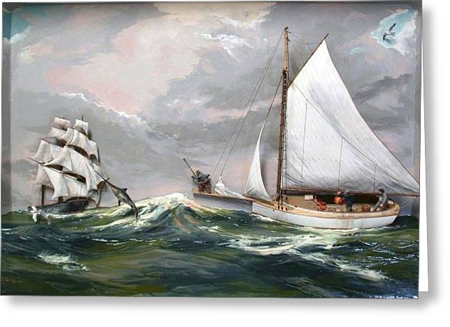 Swordfish Mixed Media Greeting Cards - Swordfishing The Atlantic Greeting Card by Rex Stewart