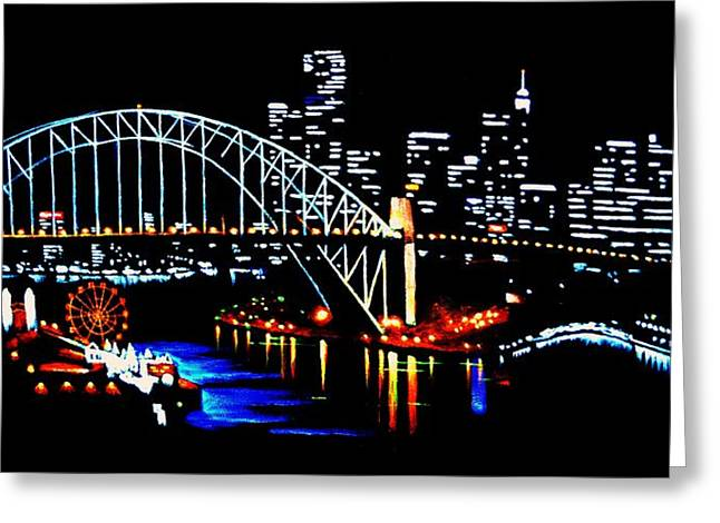 No Frame Needed Paintings Greeting Cards - Sydney by Black Light Greeting Card by Thomas Kolendra